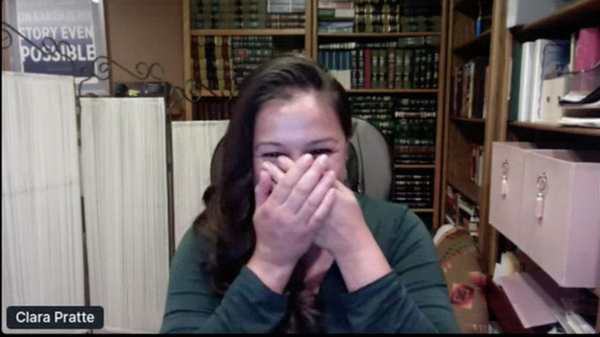A screen shot of Pratte reacting to the announcement of her selection as the 2020 winner of the Pritzker Emerging Environmental Genius Award.