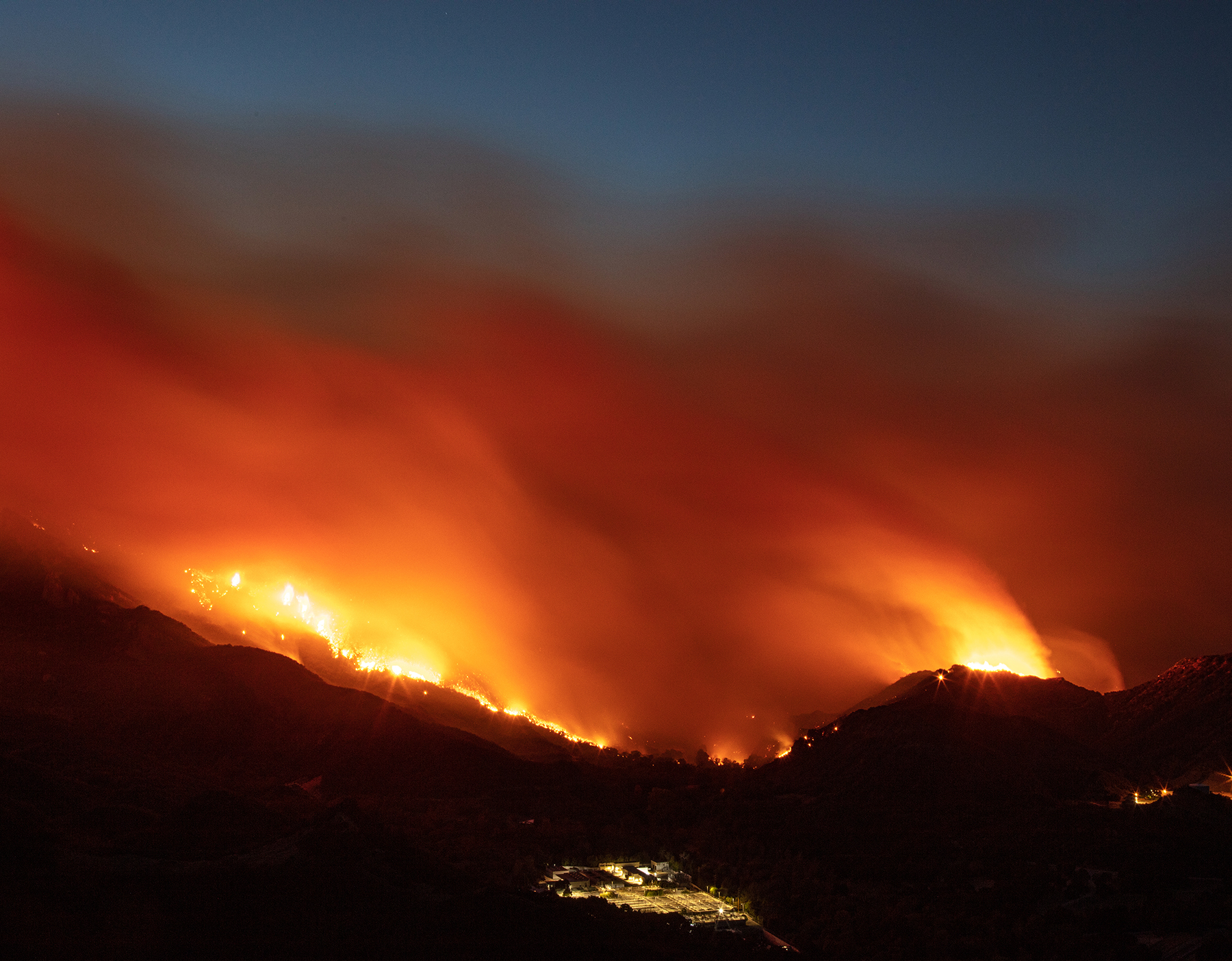 Flames from 2018's Woolsey fire lit up the night sky for nearly two months.