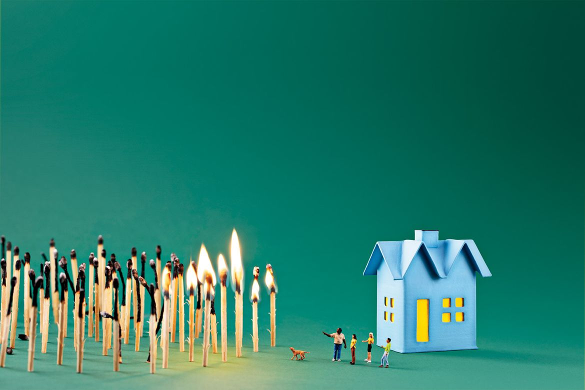 Matchsticks in front of house