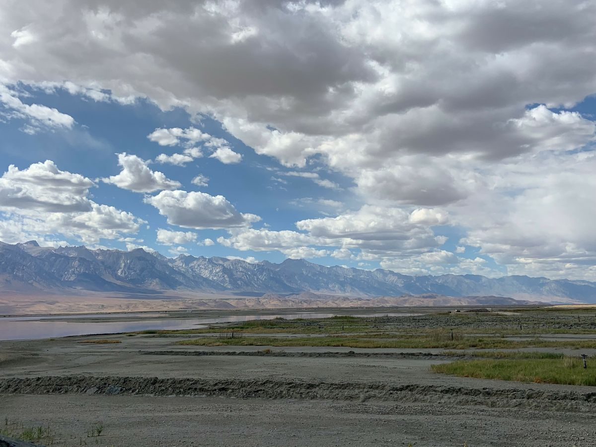 Cloudy sky above Owens Valley lakebed
