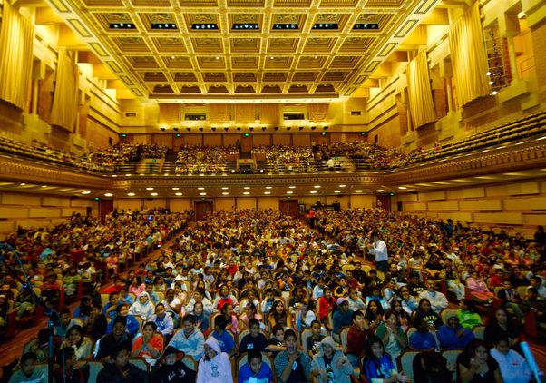 Royce Hall full of kids