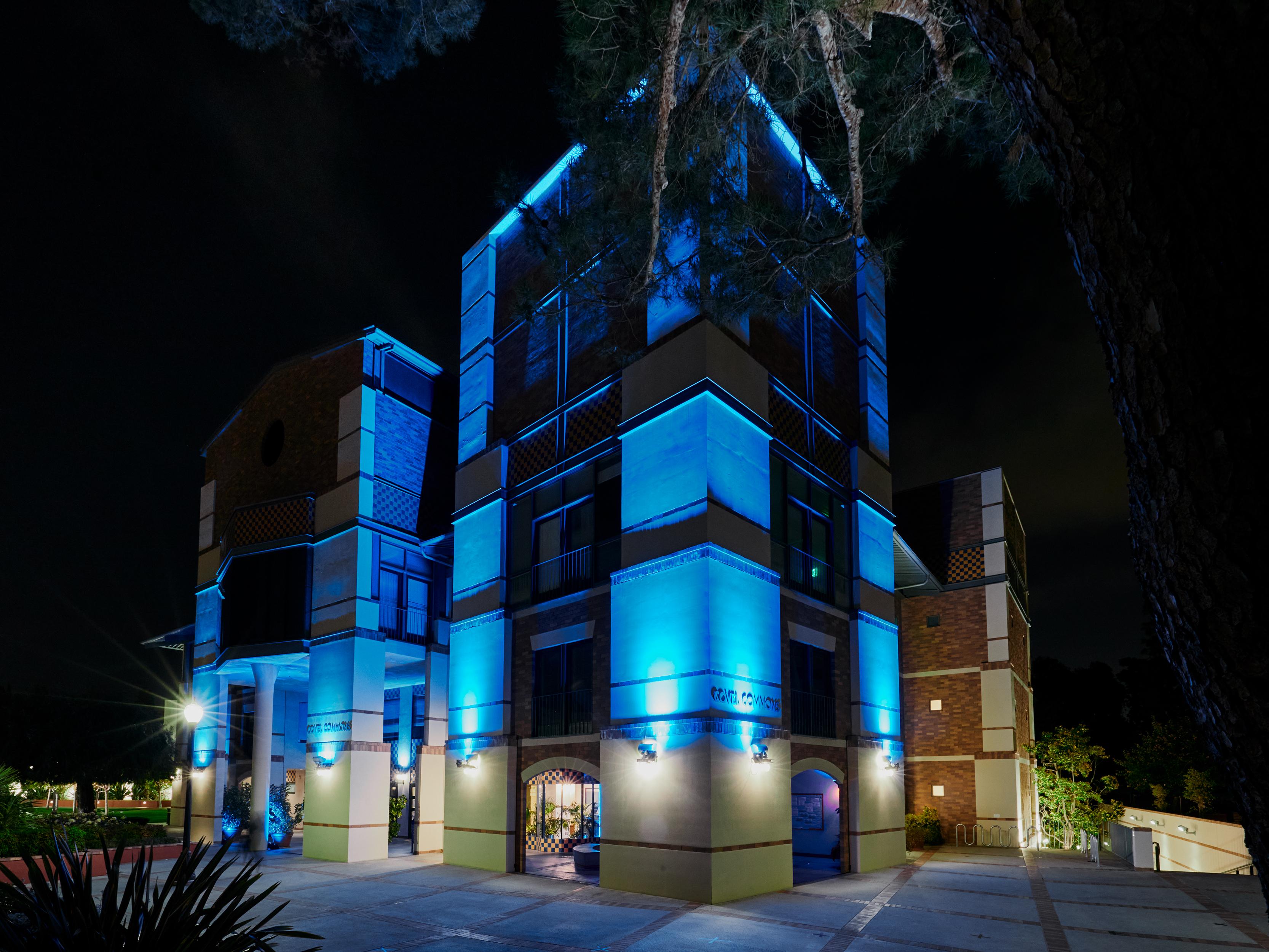 Covel Commons awash in blue light.