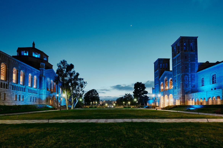 LightItBlue - Royce Hall and Powell Library