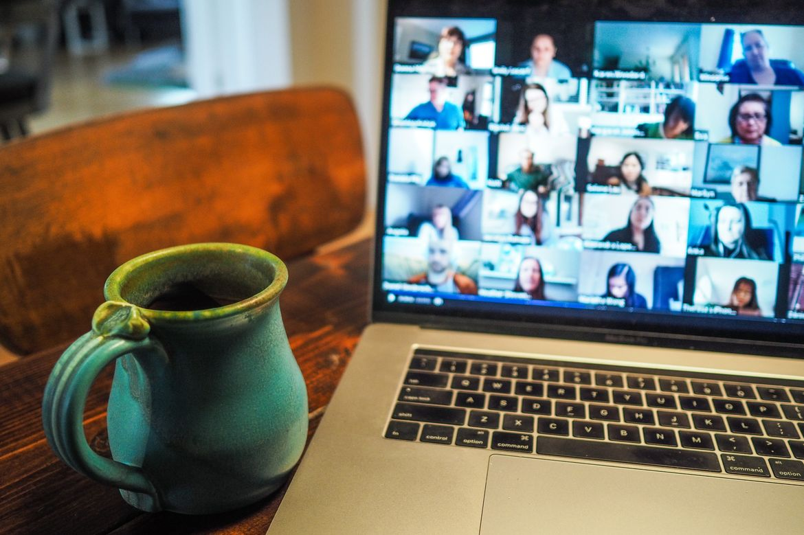 Video meeting and coffee
