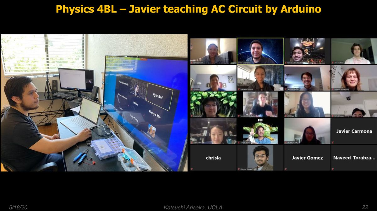 Javier Carmona leads a Zoom class on how to use the Arduino kits