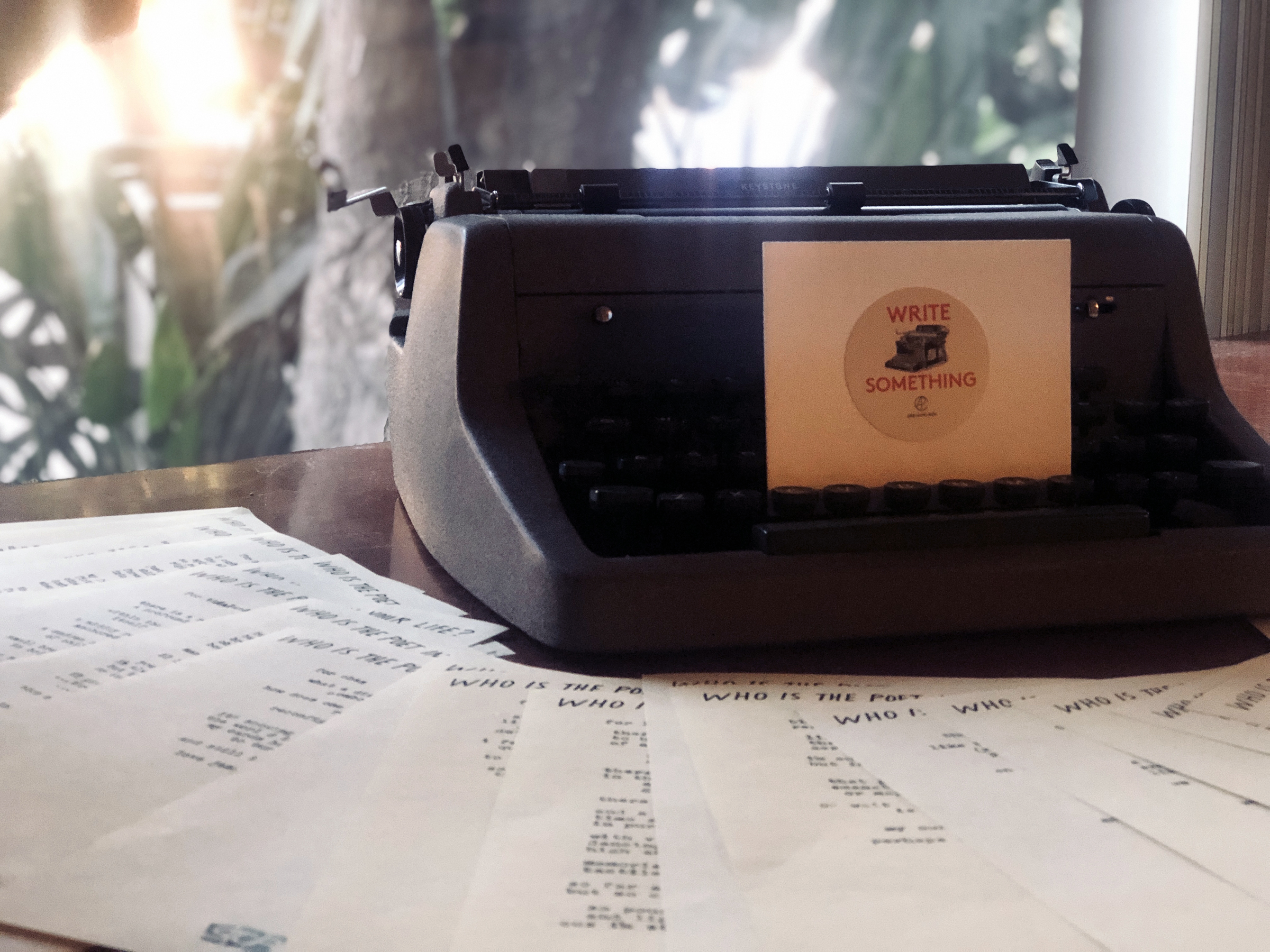 Typewriter on a table for Poetry Bureau