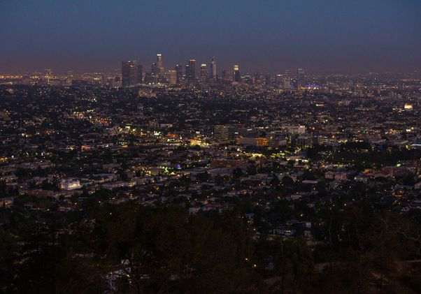 Panorama of Los Angeles at dusk