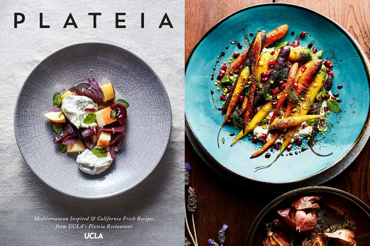 Plateia cookbook and plate of veggies