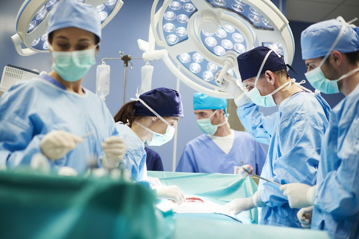 Operating room with surgeons