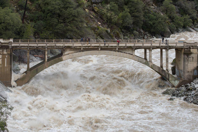Bridge over flooded river
