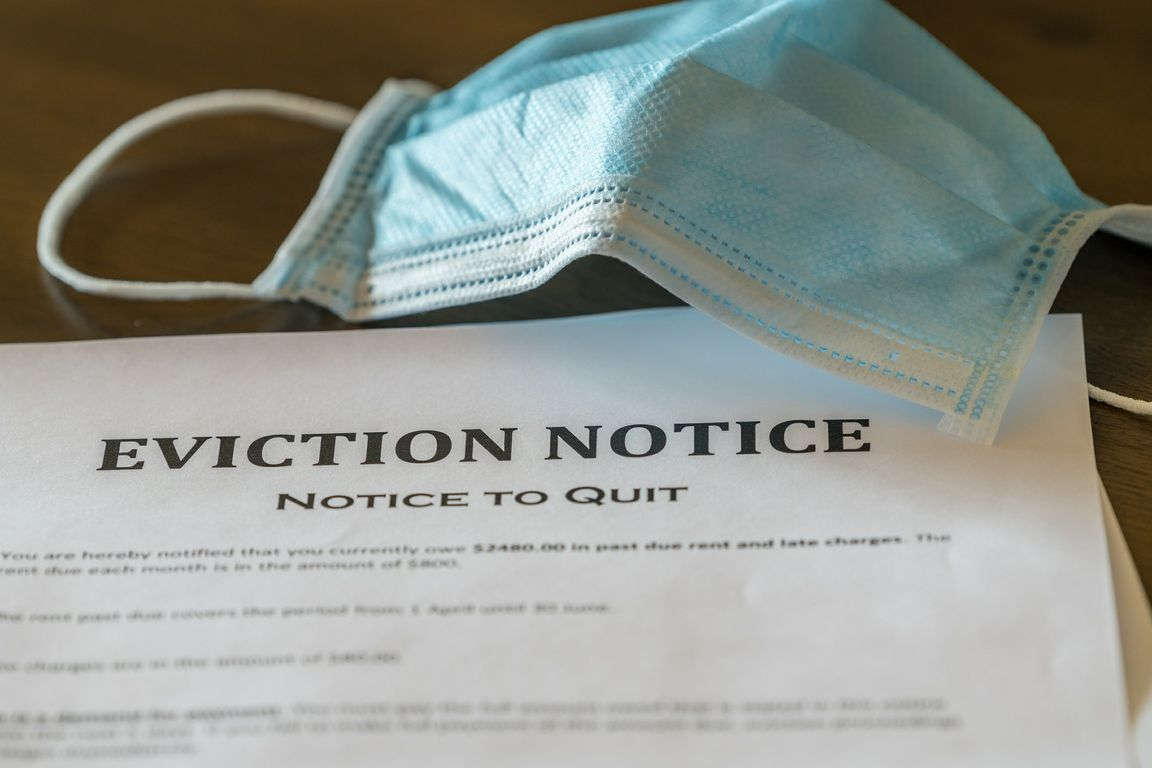 Face covering and eviction notice