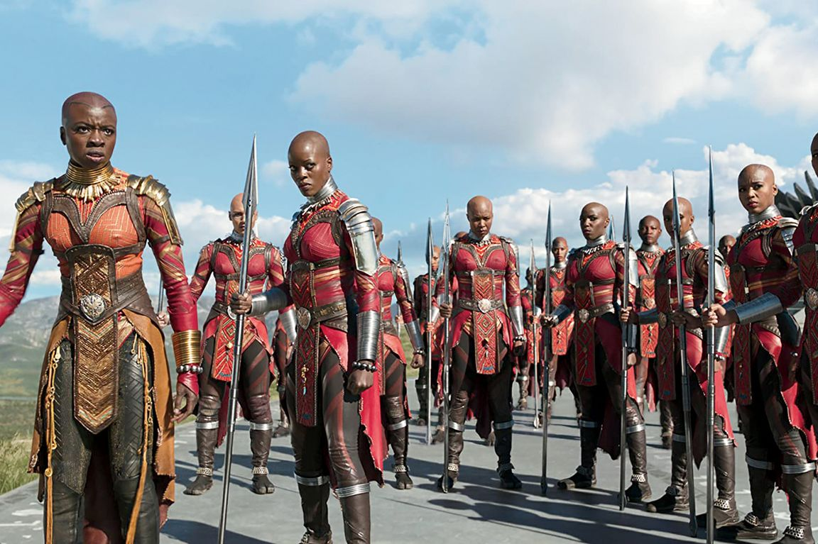 A Black Panther scene featuring the Masai-inspired Dora Milaje, Wakanda's elite royal military unit.