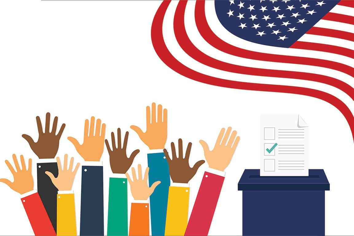 Image of voters' hands