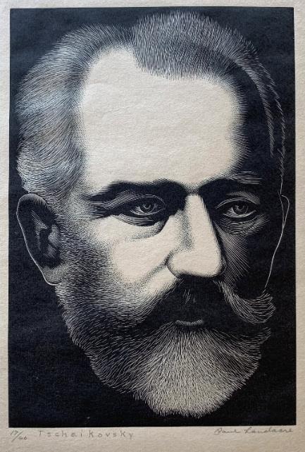 Landacre engraving of Tchaikovsky