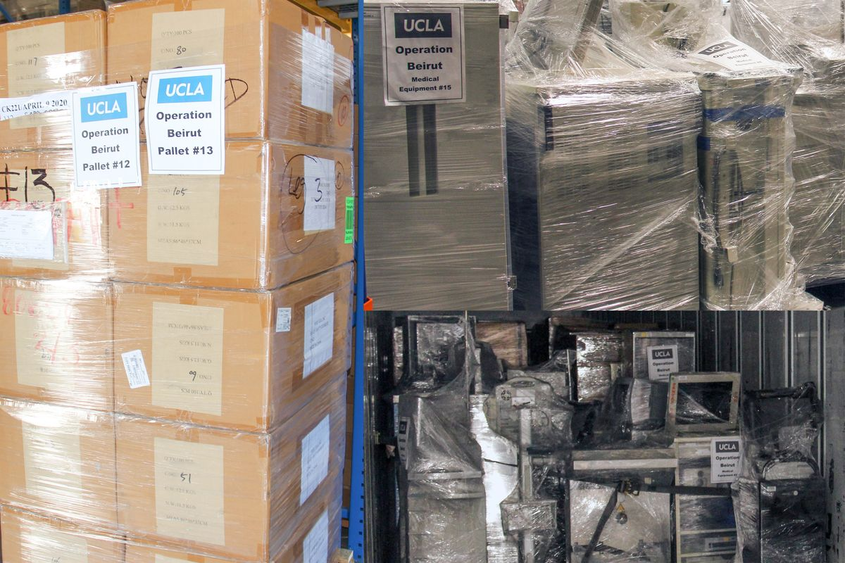 Boxes of shrink-wrapped equipment bound for Beiruit from UCLA Health