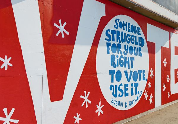 Eric Junker's vote mural in Atwater Village