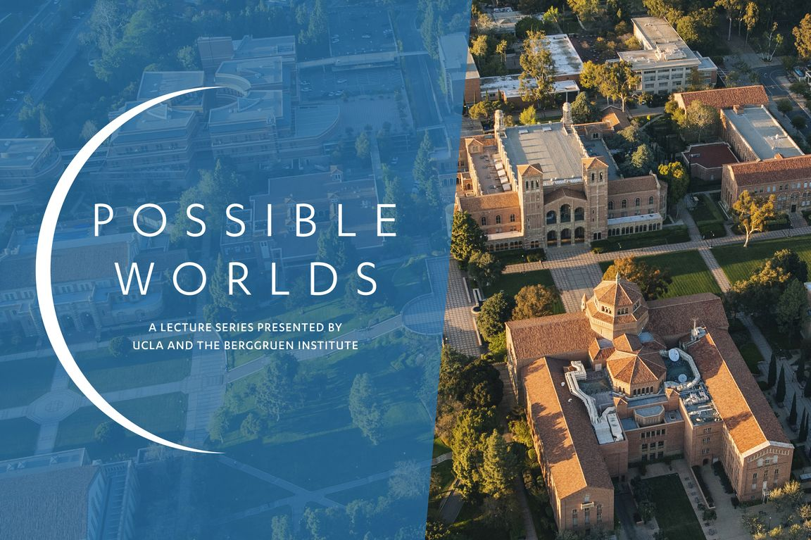"""Possible Worlds"" card image, with aerial view of campus"