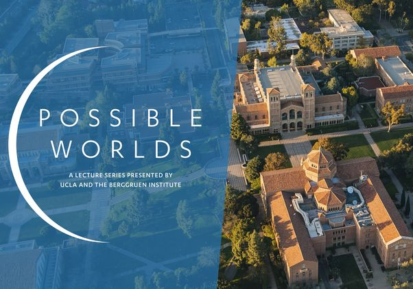 """""""Possible Worlds"""" card image, with aerial view of campus"""