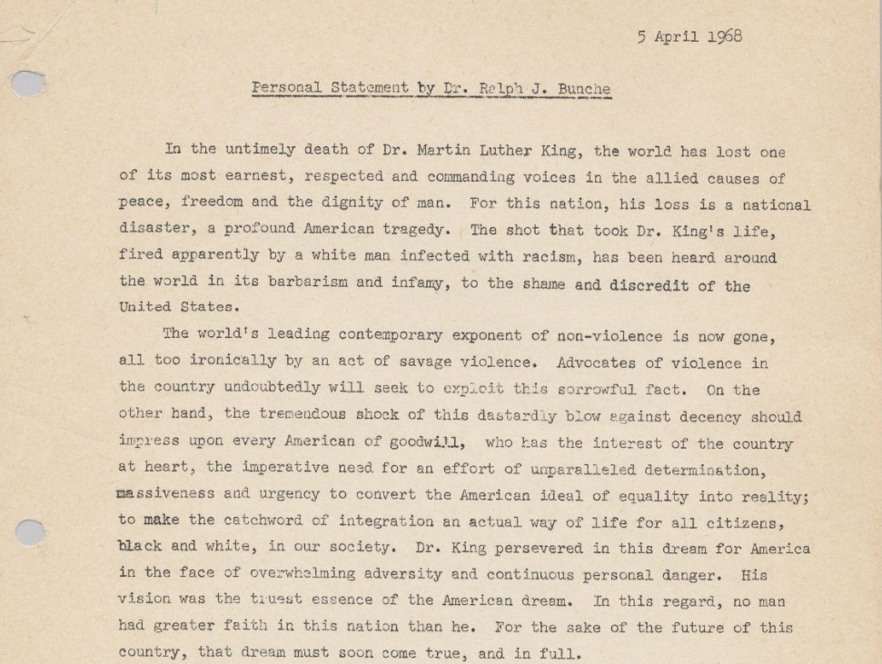 Picture of part Ralph Bunche's personal statement on the assassination of Martin Luther King Jr.