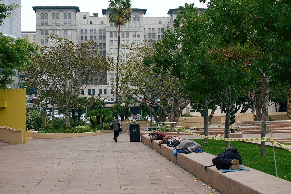 Homeless people in Pershing Square