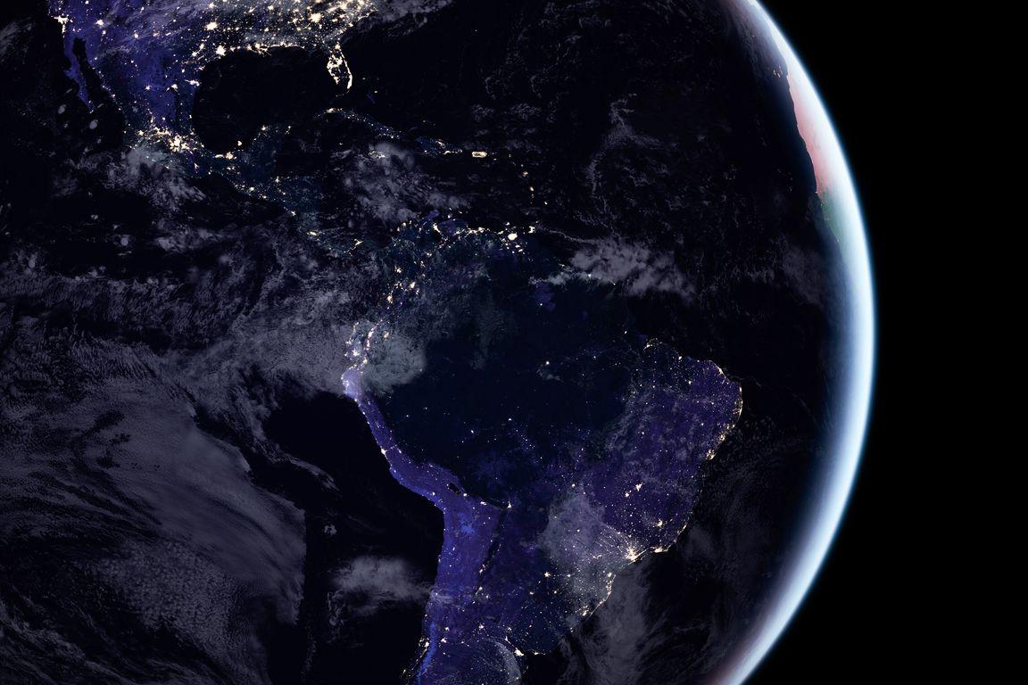 Americas at night