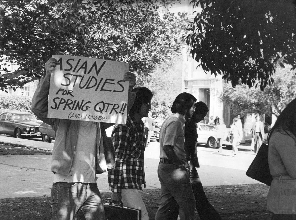 """Asian studies for spring quarter"" protest sign"