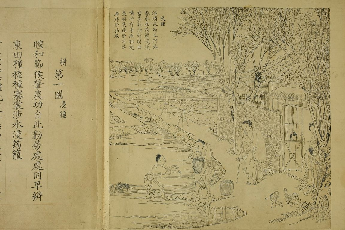 Wood engraving depicting farm life in China