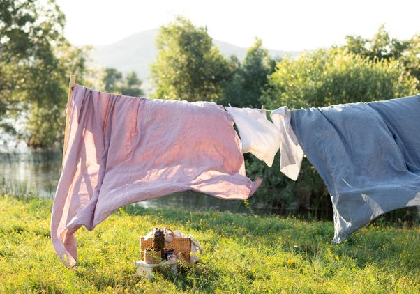 Clean sheets drying in sunshine