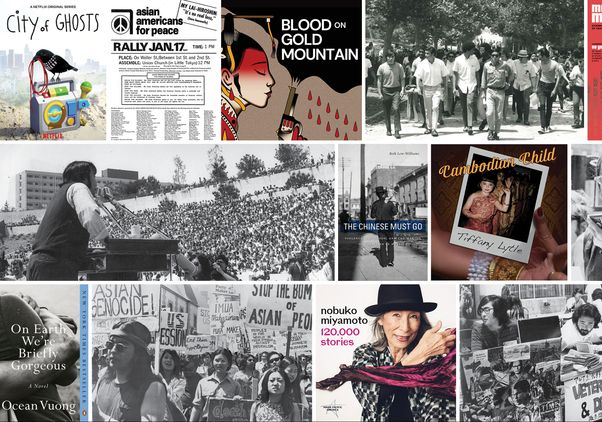 Collage of media by Asian American and Pacific Islander artists and authors