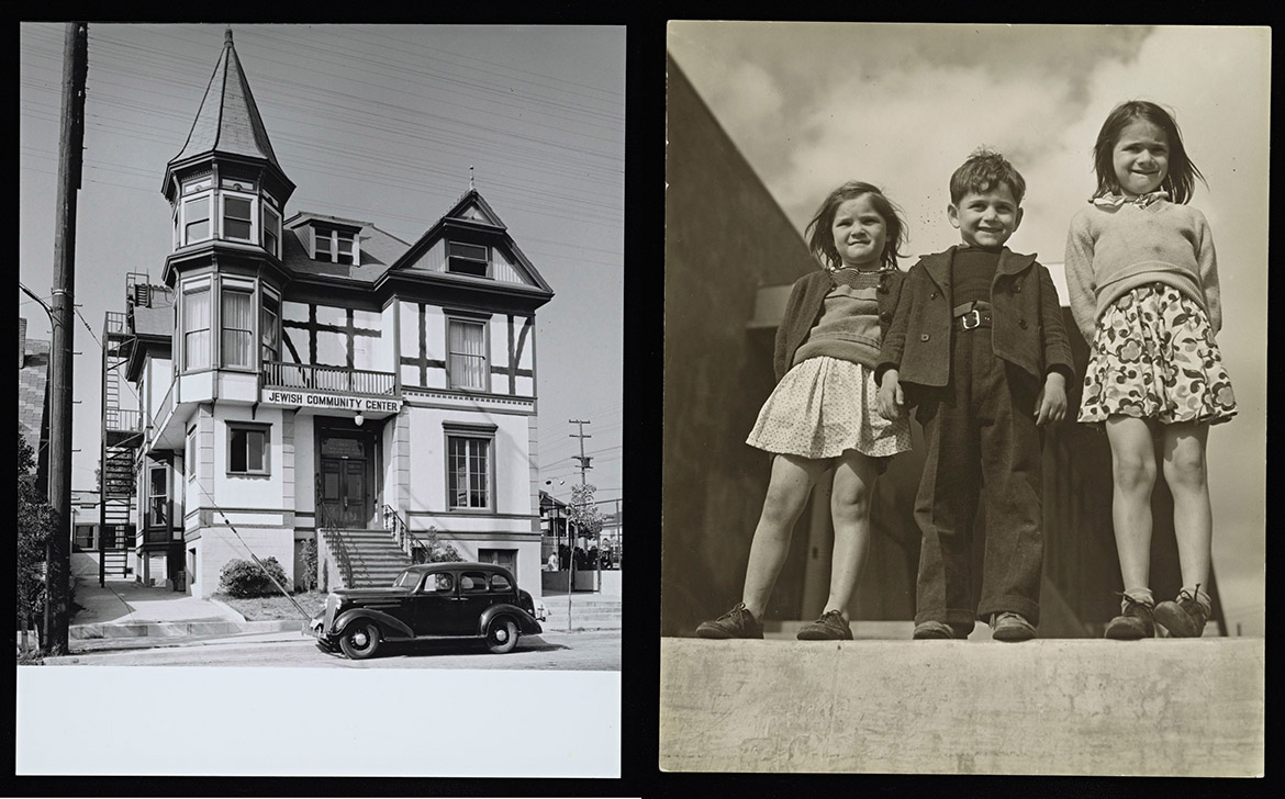 A photo of, from left: The Soto-Michigan JCC featured a playground where children could enjoy a jungle gym, swing sets and pingpong tables. Both photos were taken by Julius Shulman in 1938.