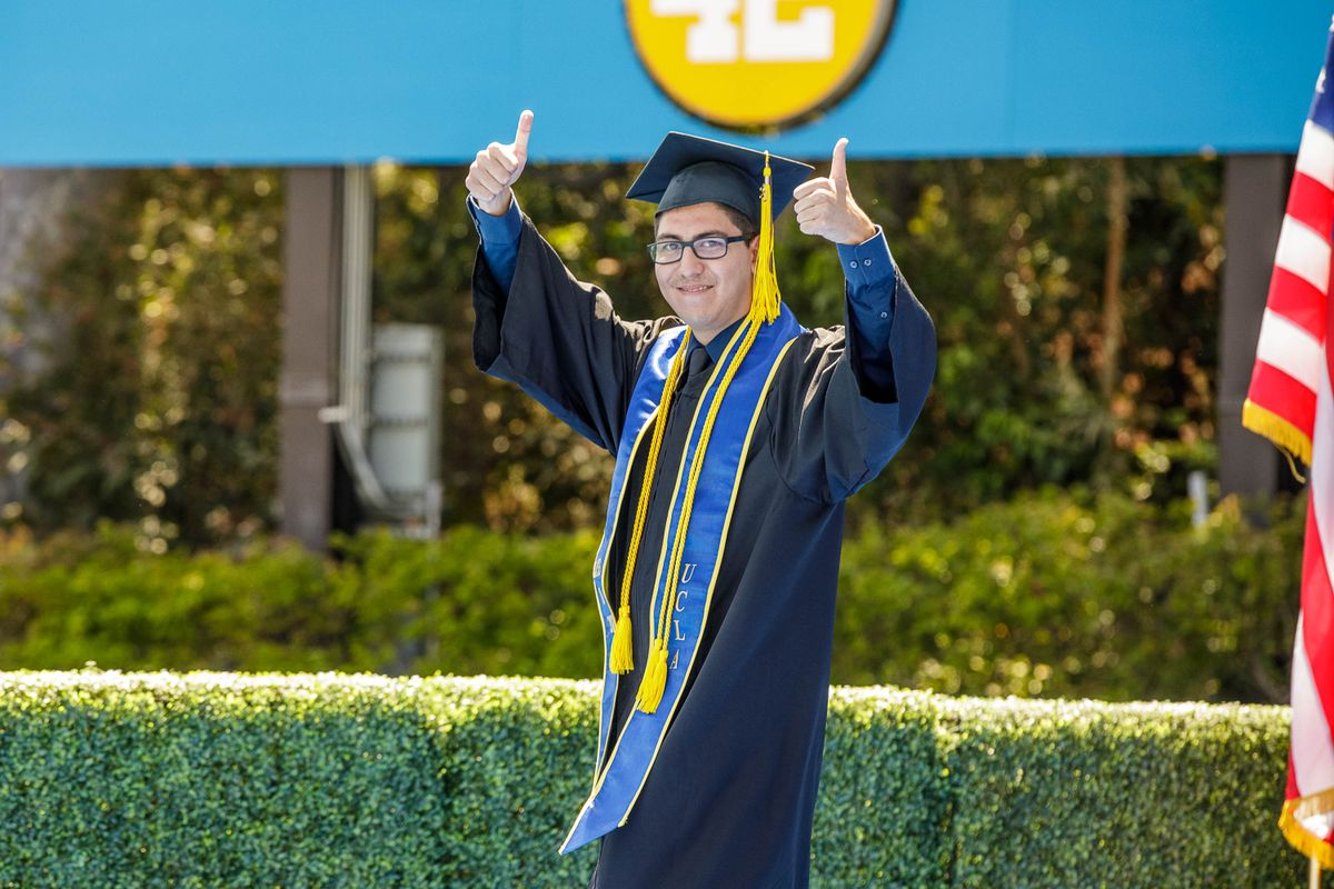 UCLA Commencement 2021 - student thumbs up