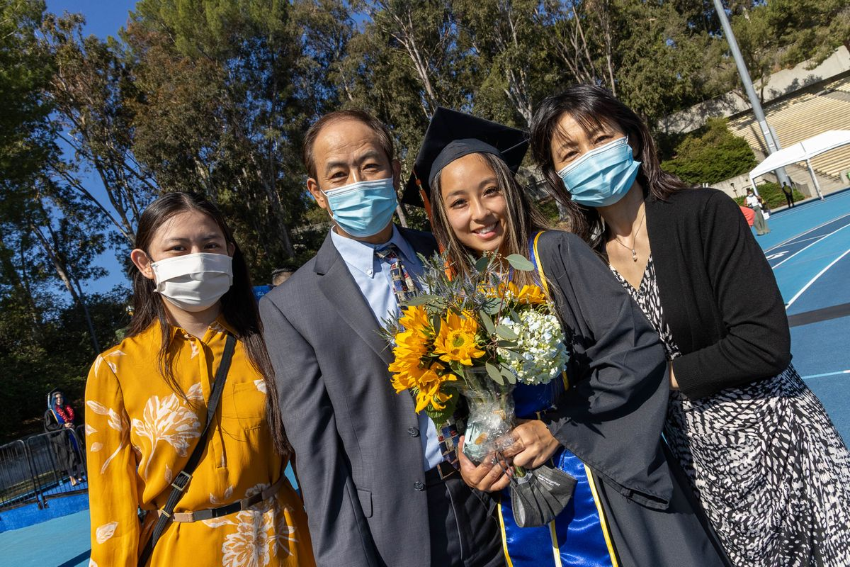 UCLA Commencement 2021 - family of four