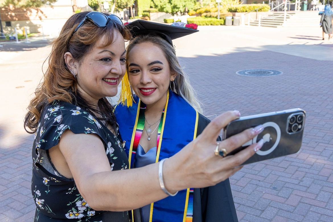 UCLA Commencement 2021 - mother and daughter selfie