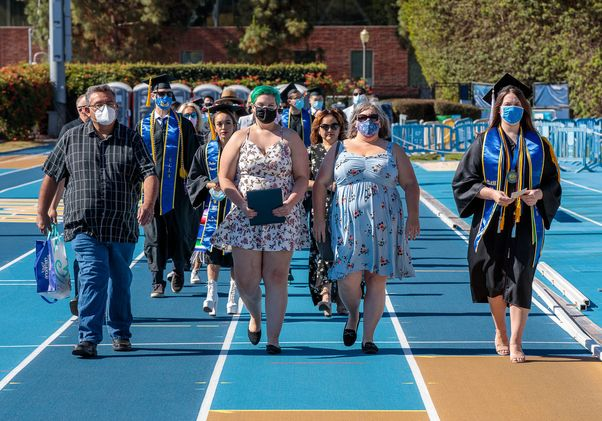 Click to open the large image: UCLA Commencement 2021 - Drake Stadium procession