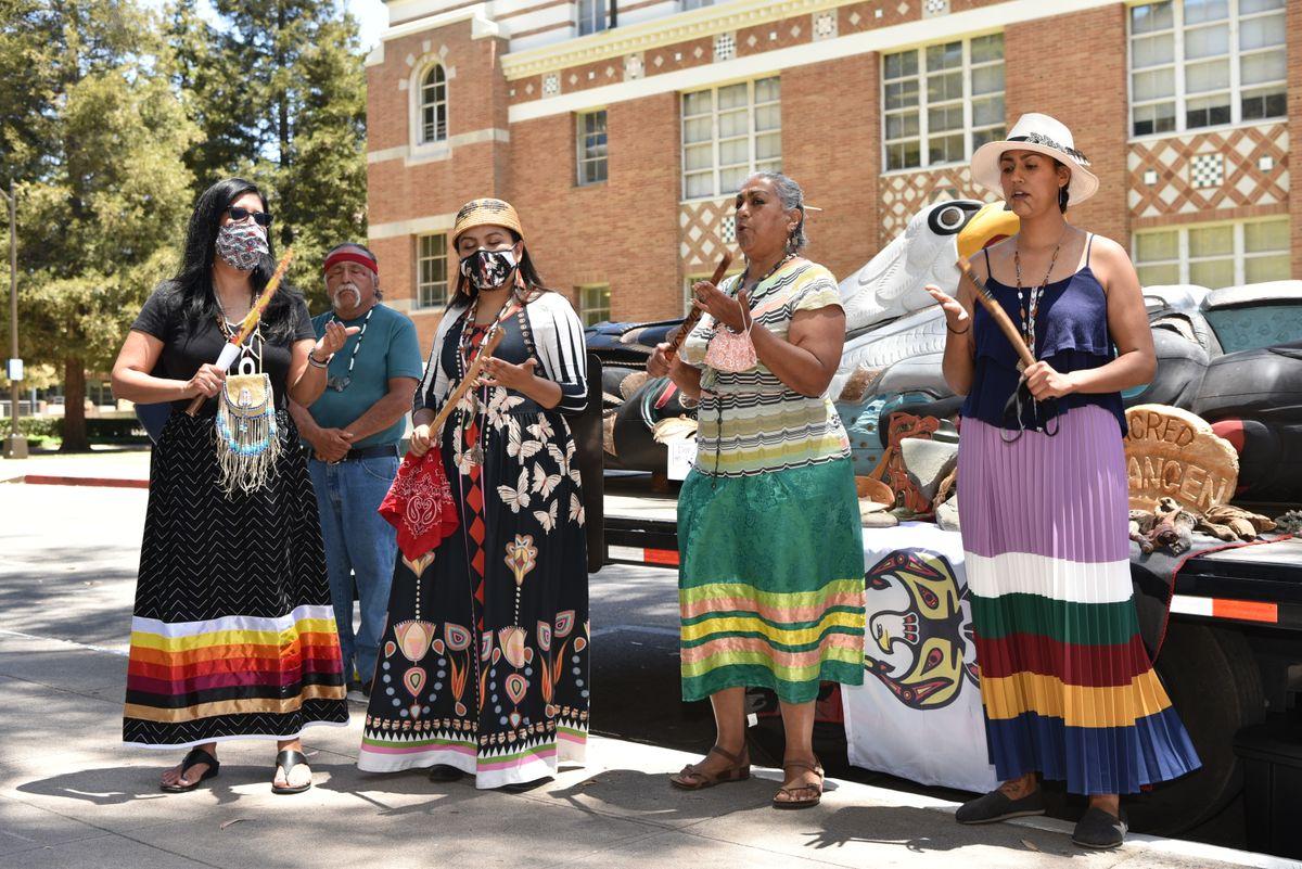 From left: Four members of the Tongva tribe, Kimberly Morales, Miztlayolxochtil Aguilera, Tina Calderon and Jessa Calderon