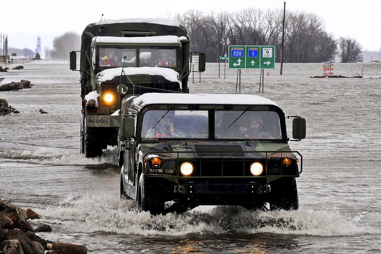 Vehicles in Minnesota flood