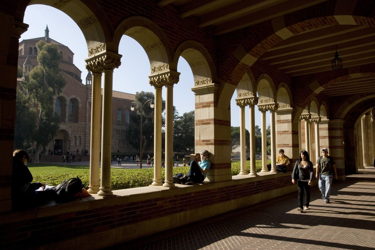 Students in UCLA's Royce Hall portico