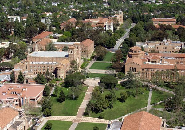 Aerial view of UCLA's Janss Steps and Dickson Plaza