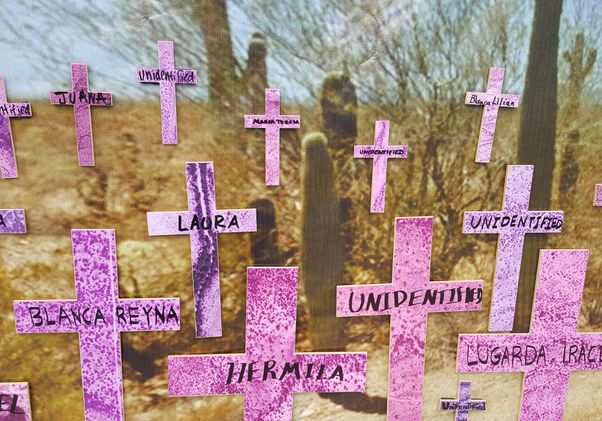 Click to open the large image: Crosses on Mujer Migrante Memorial