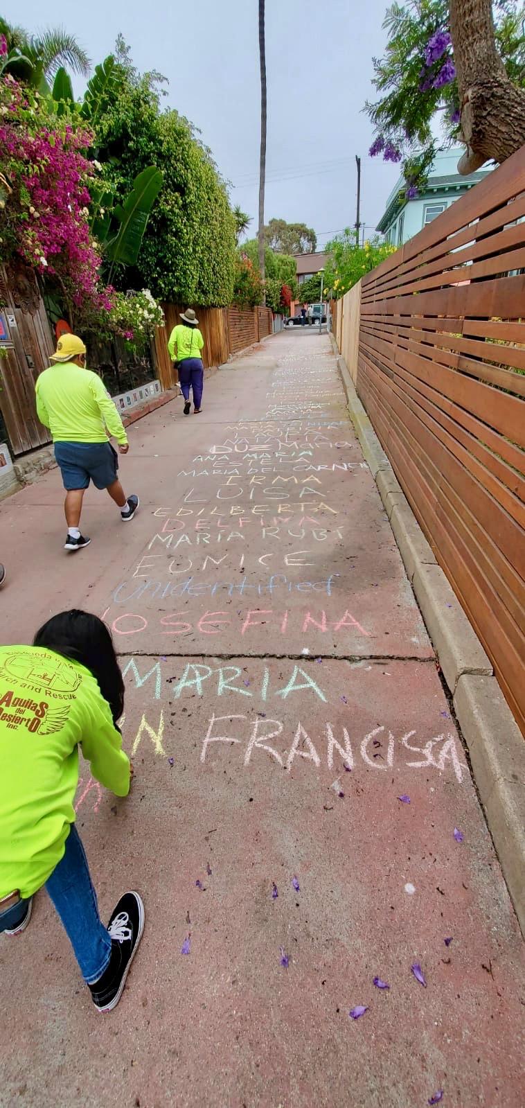 Names in chalk on a sidewalk
