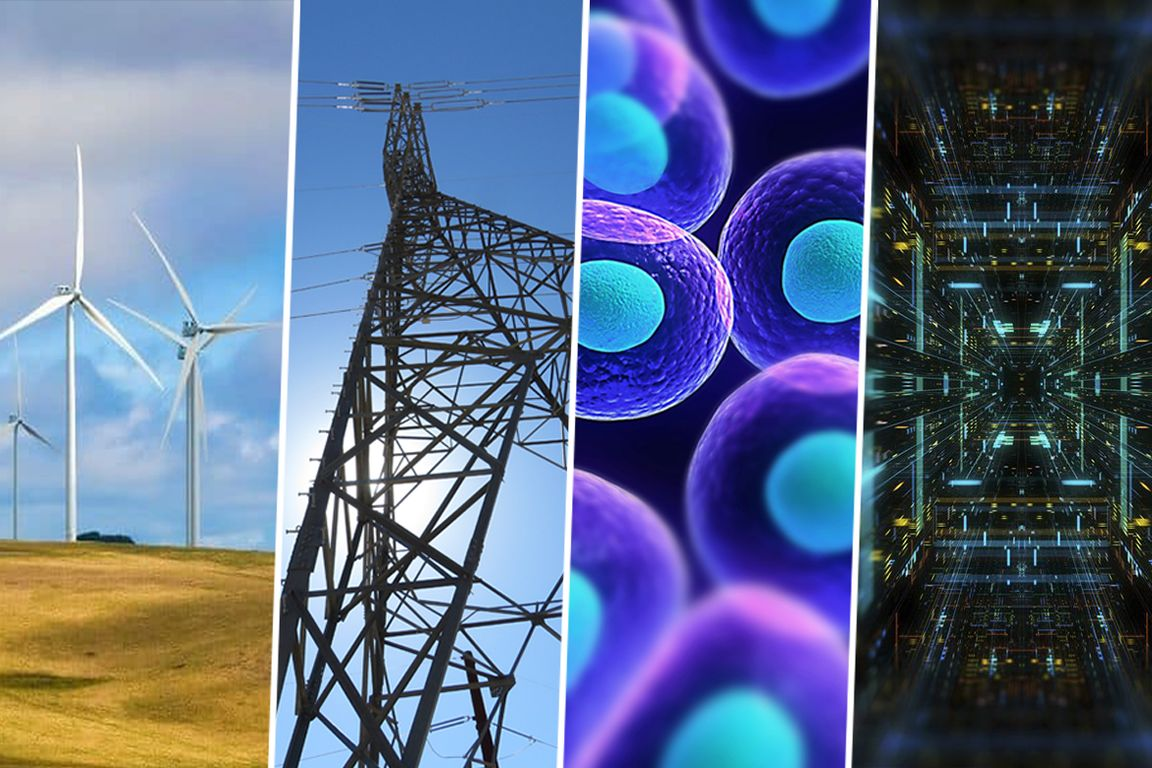 Composite image including windmills, electricity pylons, cells and  semiconductors