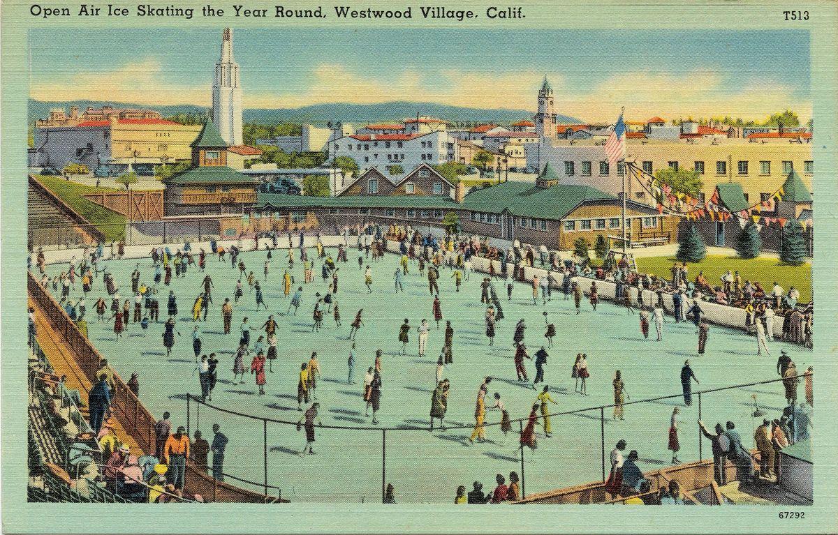 Vintage Westwood Village ice skating rink postcard