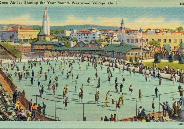 Click to open the large image: Vintage Westwood Village ice skating rink postcard