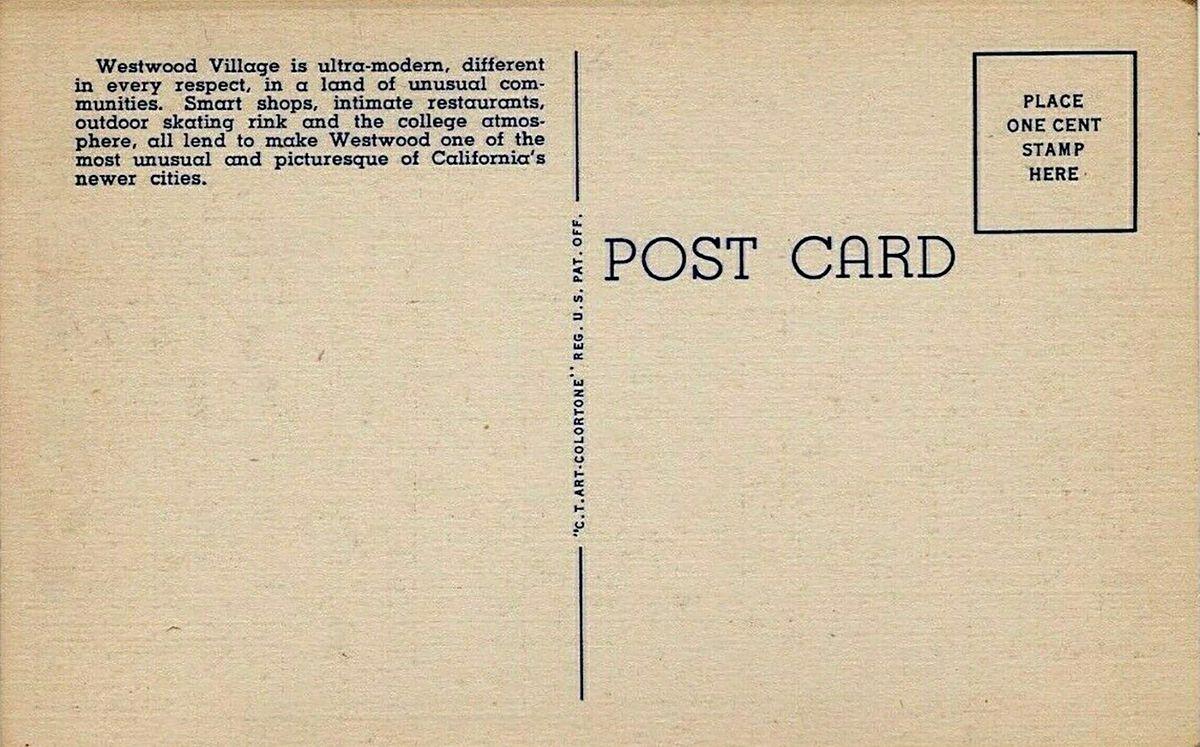 Back of vintage Westwood Village postcard