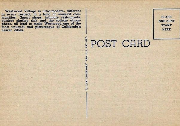 Click to open the large image: Back of vintage Westwood Village postcard