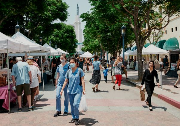 Farmers market in Westwood Village