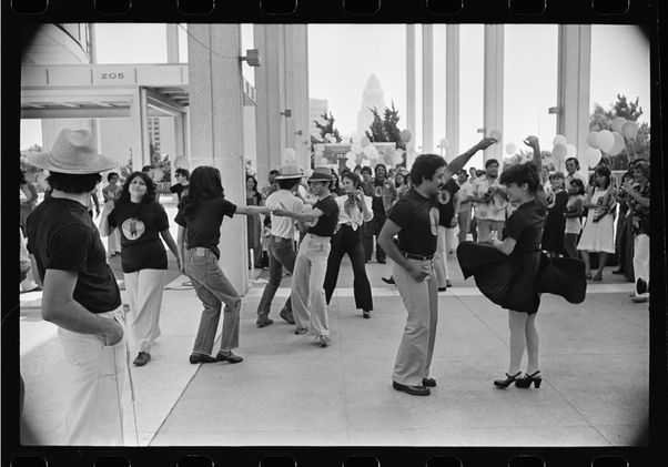 """""""Zoot Suit"""" cast dancing at the Mark Taper Forum"""