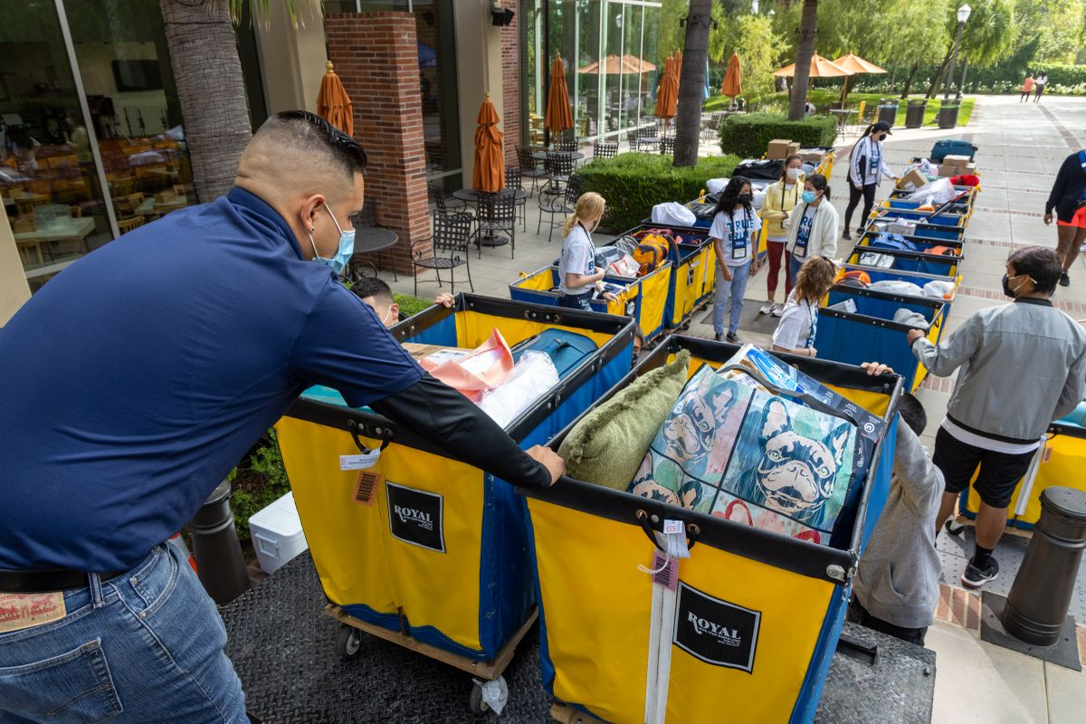 Line of bins for UCLA move-in 2021