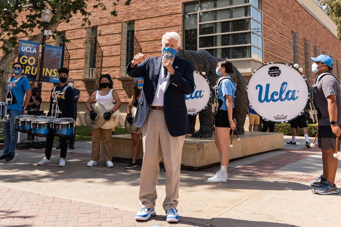Chancellor Block on Bruin Plaza with UCLA Band