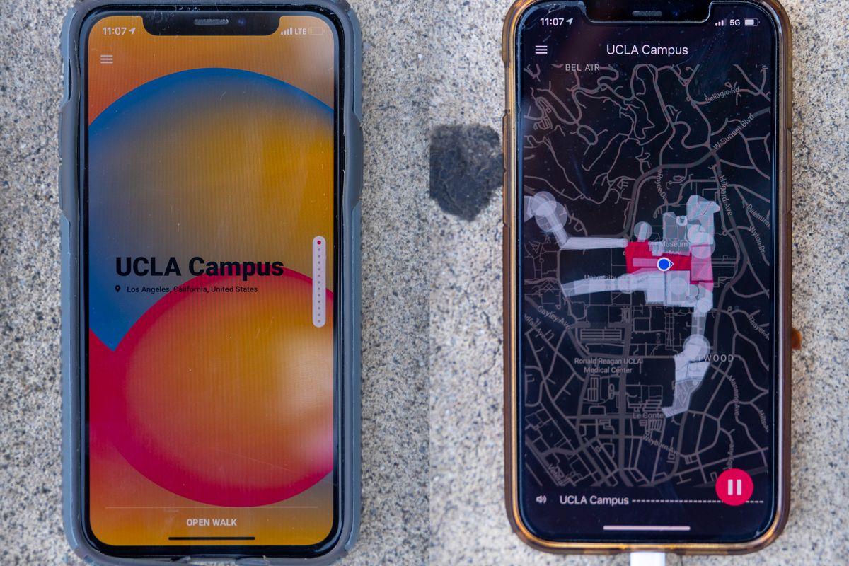 Smartphones show Ellen Reid SOUNDWALK app